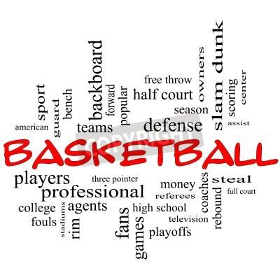Plakát Basketbal Word Cloud Concept v červených čepicích s velkými pojmy jako stráž, krást, rebound, Slam Dunk, centrum, pomáhat, hry a další.