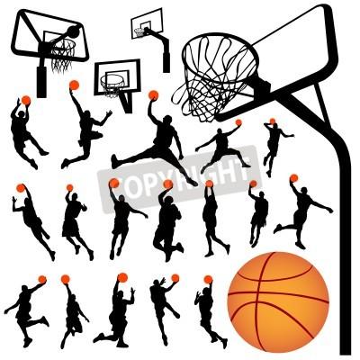 Plakát basketball and backboard vector