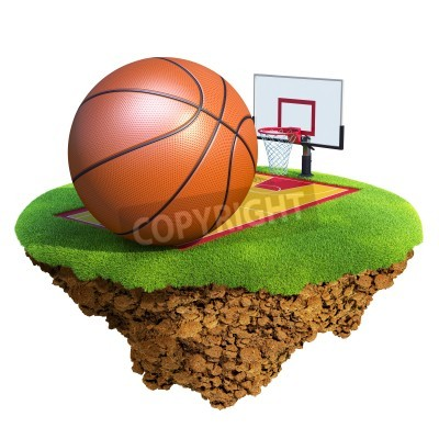 Plakát Basketball ball, backboard, hoop and court based on little planet. Concept for Basketball team or competition design. Tiny island / planet collection.