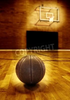 Plakát Basketball on wooden floor of old basketball court