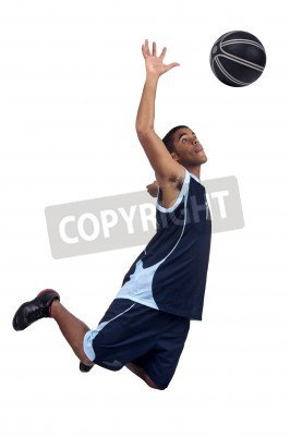 Plakát Basketbalový hráč izolován v bílém