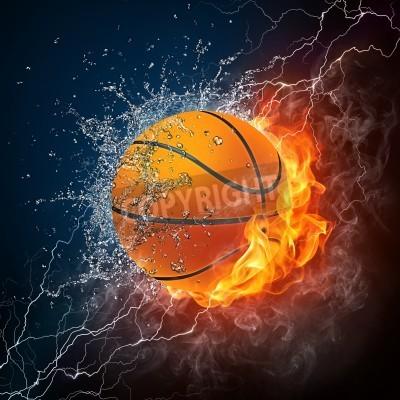 Plakát Basketbalový míč na ohně a vody. 2D grafika. Computer Design.