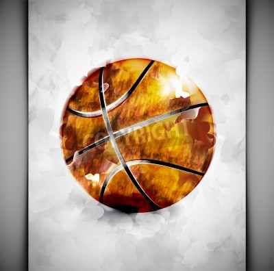 Plakát Basketbalový míč ve stylu akvarelu