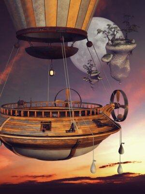 Plakát Baśniowy balón na tle księżyca i latających wysp