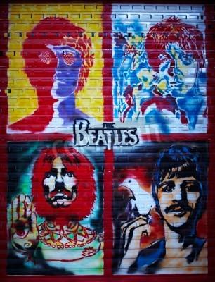 Plakát Beatles graffiti stěna v Moskvě, Stroitelei ulice