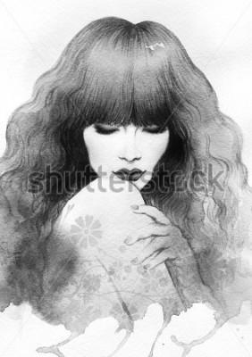 Plakát Beautiful woman. watercolor illustration