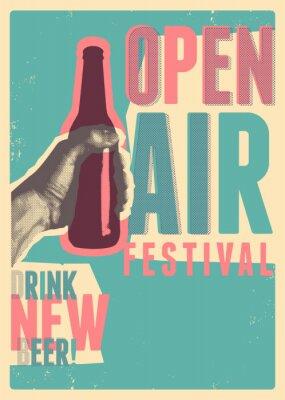 Plakát Beer open air festival typographical vintage grunge pop-art style poster design. Retro vector illustration.