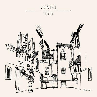 Plakát Benátky Itálie Evropa vinobraní ručně malovaná pohlednice