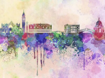 Plakát Benátky panorama v akvarelu pozadí