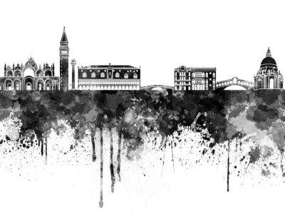 Plakát Benátky panorama v černé akvarel