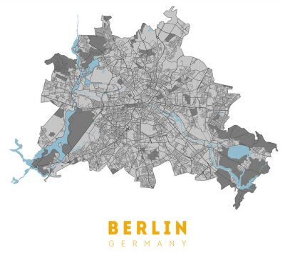 Plakát Berlin map. Detailed poster city map Berlin. Germany