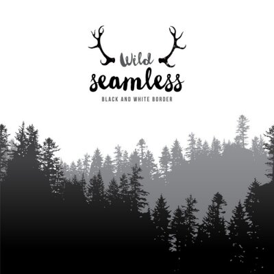 Plakát bezešvé jehličnatý les hranic