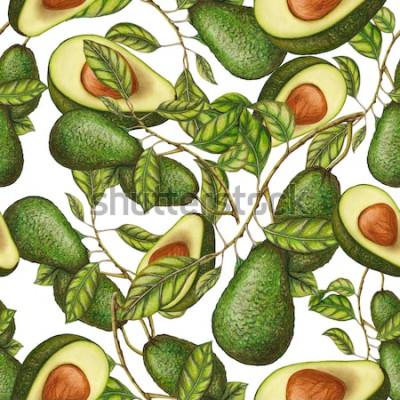 Plakát Bezešvé pattern ručně tažené avokádo