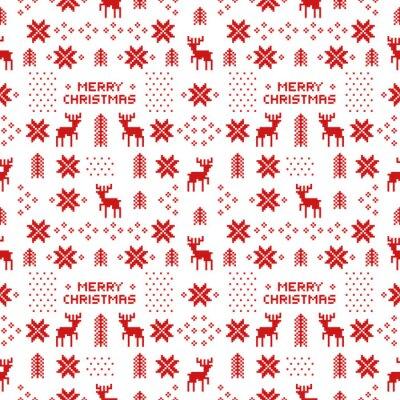 Plakát bezešvé retro červené vánoční vzorek s jeleny, stromy a sněhové vločky