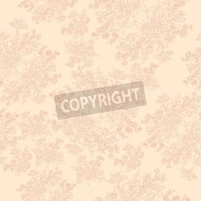 Plakát bezešvé retro vzor s rokokovými květinami, otrhaný šik motiv