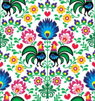 Plakát Bezešvé tradiční květinový polský vzor - Wzory Łowickie