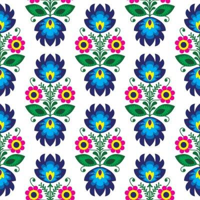 Plakát Bezešvé tradiční květinový vzor na nehty - etnický původ