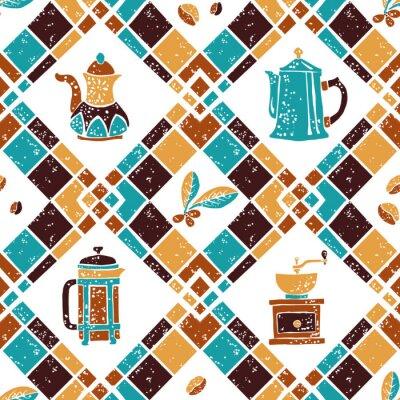 Plakát Bezešvé vzor Argyle a Kávovary