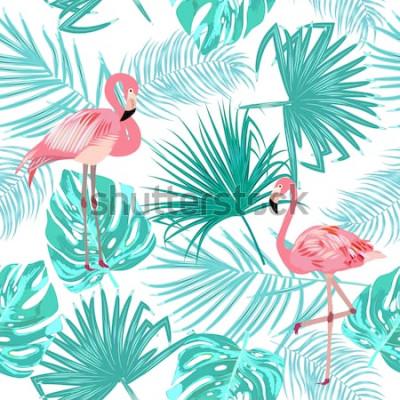 Plakát Bezešvé vzor plameňáků, listy monstera. Tropické listy palmy a květin. Vektorové pozadí.
