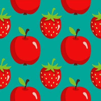 Plakát Bezešvé vzor s jahodami a jablky