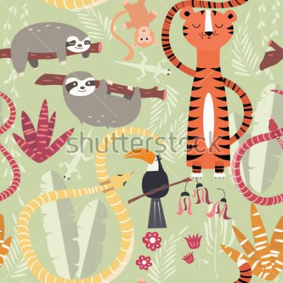 Plakát Bezešvé vzor s roztomilými deštnými lesními zvířaty, tygr, měl, lenoch, vektorové ilustrace