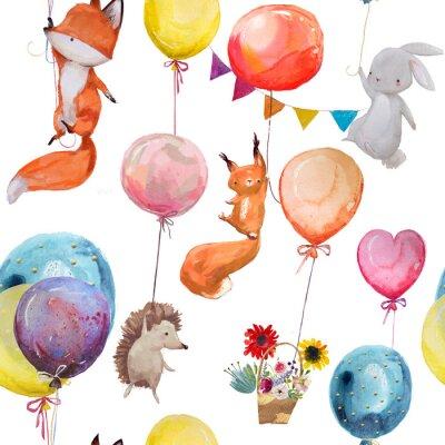 Plakát Bezešvé vzor se zvířaty s balónky