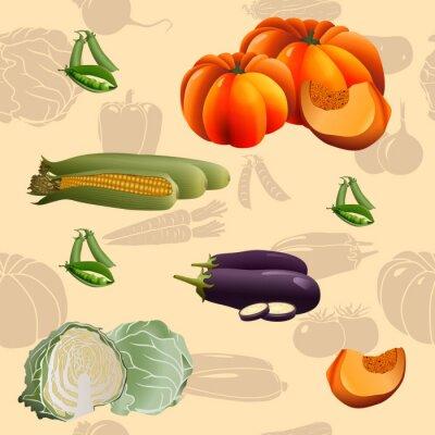 Plakát bezešvé vzor zelenina: kukuřice, dýně