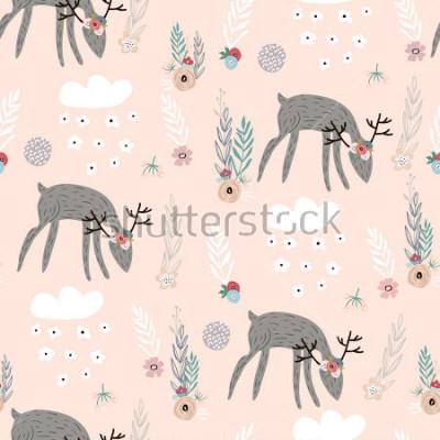 Plakát Bezešvé vzory s jelenem, květinovými prvky, větvemi. Kreativní lesní pozadí. Ideální pro dětské oblečení, tkaniny, textil, dekorace školky, balicí papír.Vector Ilustrace