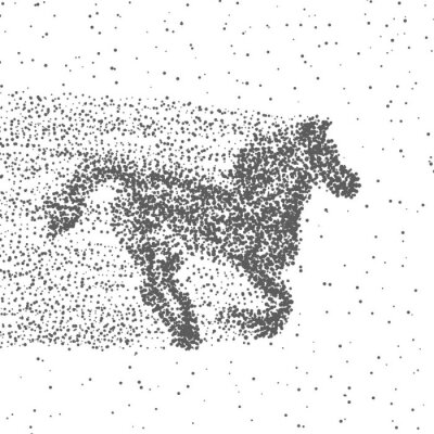 Plakát Běžící kůň vyrobeny z částic. Tečkovaná pozadí. Vektor