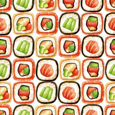 Plakát Bezproblémové vzorek s sushi