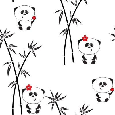 Plakát Bezproblémové vzorek, vektorové ilustrace, legrační panda