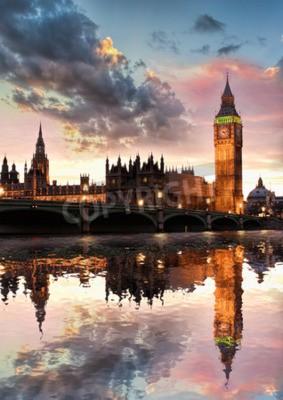 Plakát Big Ben proti barevným západu slunce v Londýně, Anglie, Velká Británie