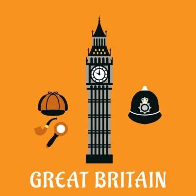 Plakát Big Ben věž a další předměty Británie