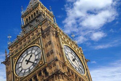 Plakát Big Ben zblízka na modré obloze, Anglie Velká Británie