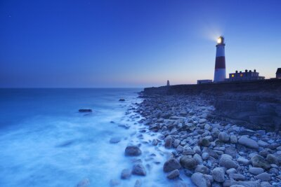 Plakát Bill Lighthouse Portland v Dorset, Anglie v noci