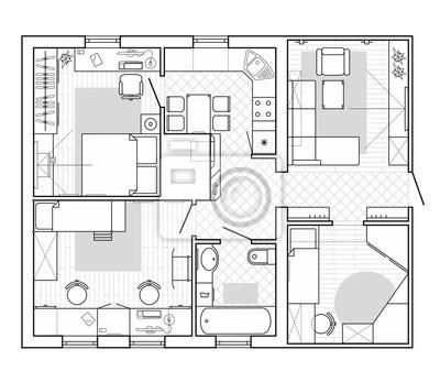 Black And White Architektonicky Plan Domu Dispozice Bytu S Nabytkem