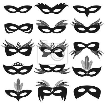 78f180c68 Plakát Black karneval strana obličejové masky na bílém vektorové sada