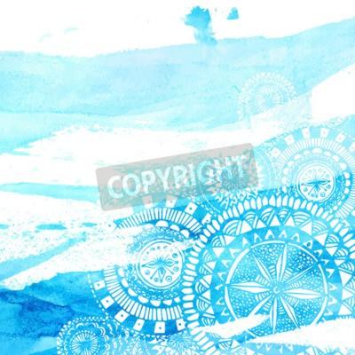 Plakát Blue akvarel tahy štětcem s bílou ručně kreslenými mandal - kolo doodle indické prvky. Vektorové letní designu.