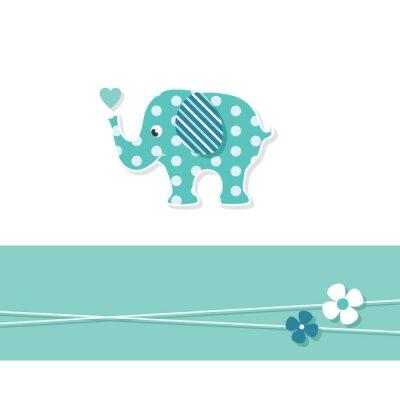 Plakát blue chlapeček slon blahopřání