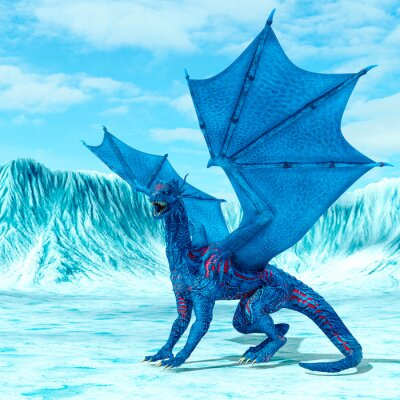 Plakát blue ice dragon is looking for food on frozen land