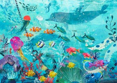 Plakát blue underwater background with fish