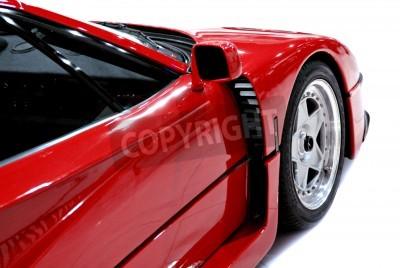 Plakát Boční a přední konec červené sportovní auto