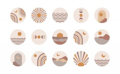 Plakát Boho social media highlight covers. Abstract stories contemporary style, sun moon story round icons, vector mid century illustration