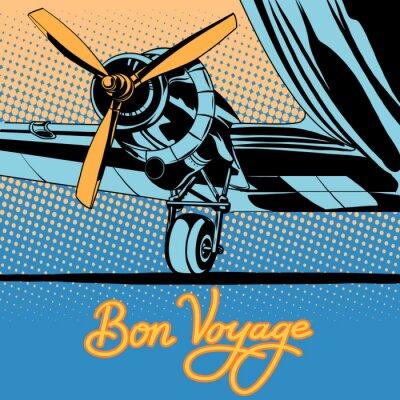 Plakát Bon voyage retro cestovní letoun plakát