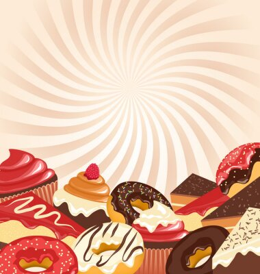 Plakát Bonbony s radiálními pruhy na béžové pozadí