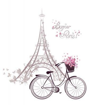Plakát Bonjour Paris text s Eiffelovou věží a na kole