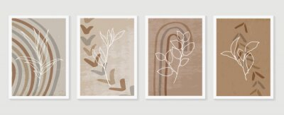 Plakát Botanical and golden line wall art vector set. Earth tone boho foliage line art drawing with  abstract shape.  Abstract Plant Art design for print, cover, wallpaper, Natural wall art..