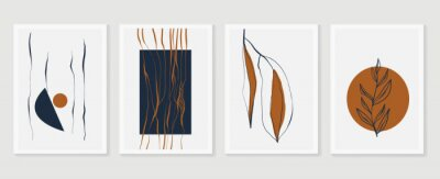Plakát Botanical wall art vector set. Earth tone boho foliage line art drawing with  abstract shape.  Abstract Plant Art design for print, cover, wallpaper, Minimal and  natural wall art.