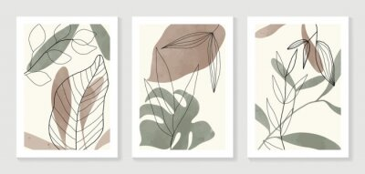 Plakát Botanical wall art vector set. Water color boho foliage line art drawing with  abstract shape.  Abstract Plant Art design for print, cover, wallpaper, Minimal and  natural wall art.
