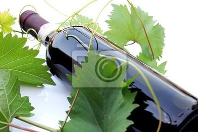 Plakát Bottiglia coricata con foglie di vite 2
